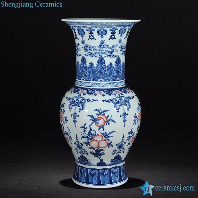 Phoenix tail large top design red peach pattern blue and white China ceramic vase