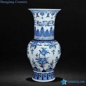 RZLG18-B Blue and white Asia style collectible porcelain vase for decoration