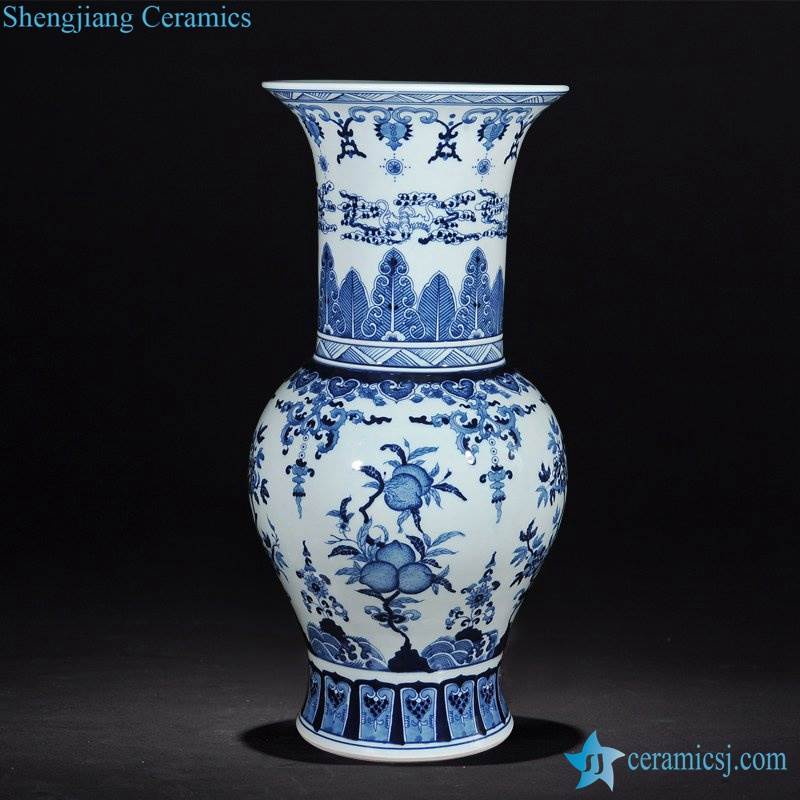 Blue and white Asia style collectible porcelain vase for decoration