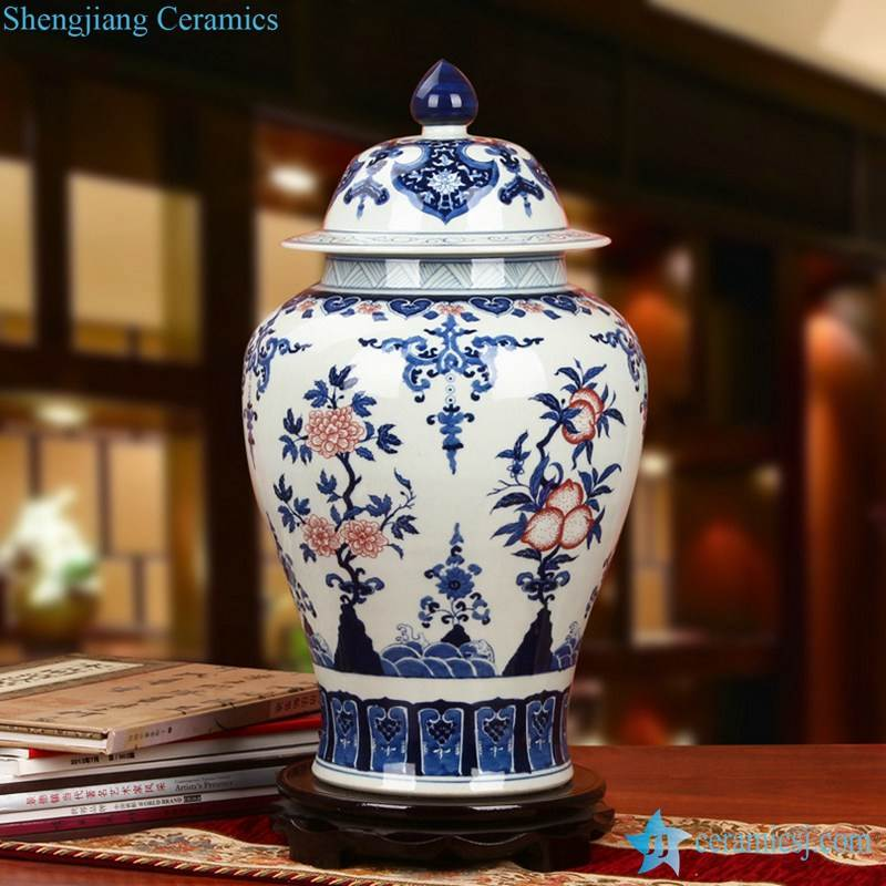 Famous porcelain city Jingdezhen local produced blue and white jar with red floral and peach pattern