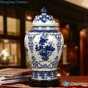 RZLG20 Asia furniture decor blue and white floral ceramic ginger jar
