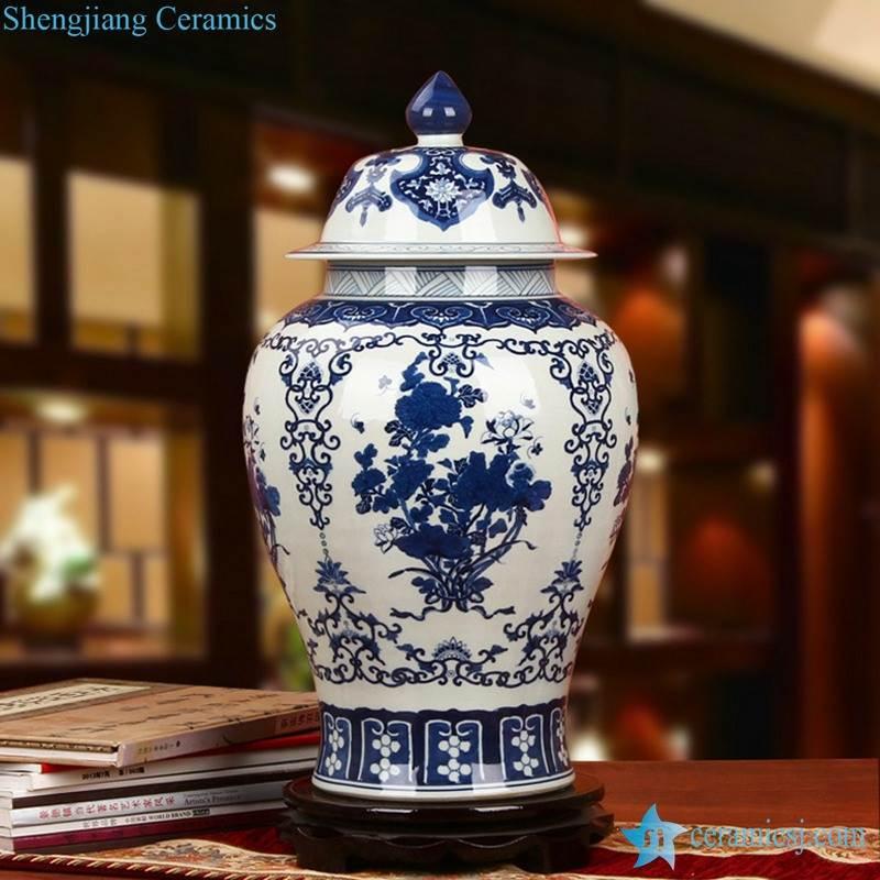 Asia furniture decor blue and white floral ceramic ginger jar
