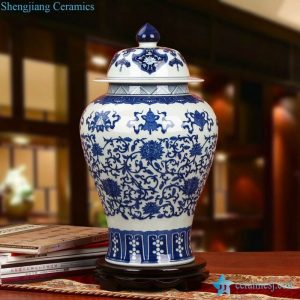 RZLG21 High quality elegant blue and white eight treasures pattern Jingdezhen Shengjiang company handpicked ceramic ginger jar