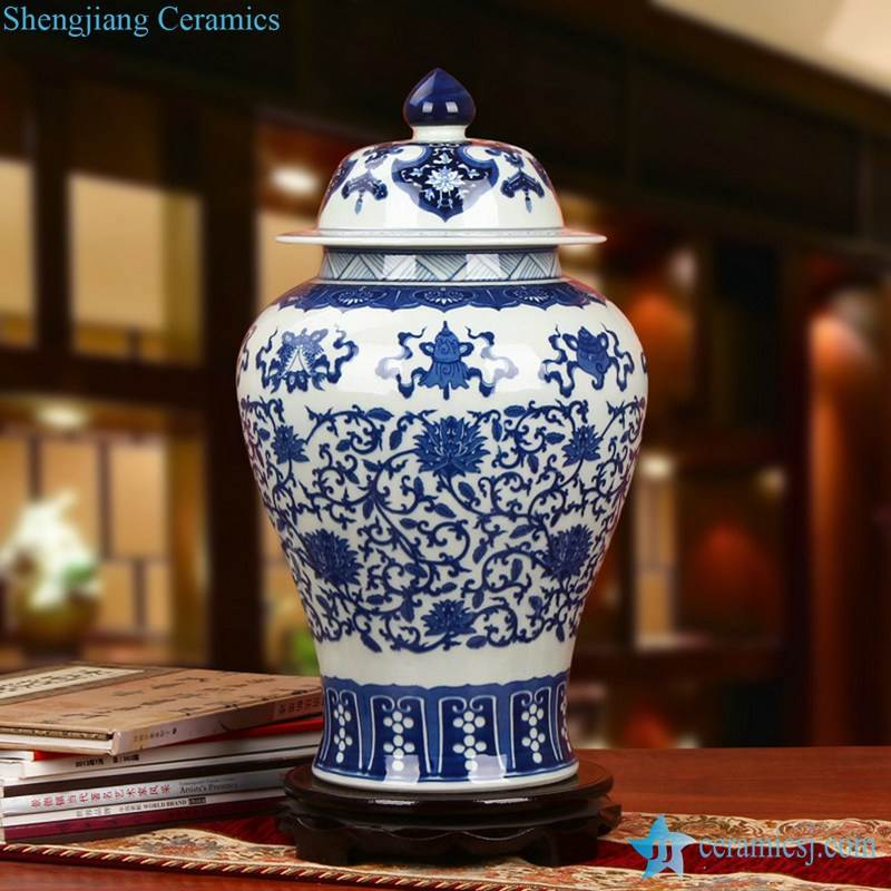High quality elegant blue and white eight treasures pattern Jingdezhen Shengjiang company handpicked ceramic ginger jar