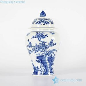 RYCI40-A Hand paint high quality cobalt blue bird and floral Jingdezhen ceramic jar for home decoration