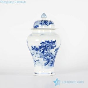 RYCI40-B Antiquity style hand painted blue and white countryside life pattern porcelain jar