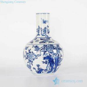 RYCI41-A Chinoiserie hand drawing bird floral chinaware globular shape vase
