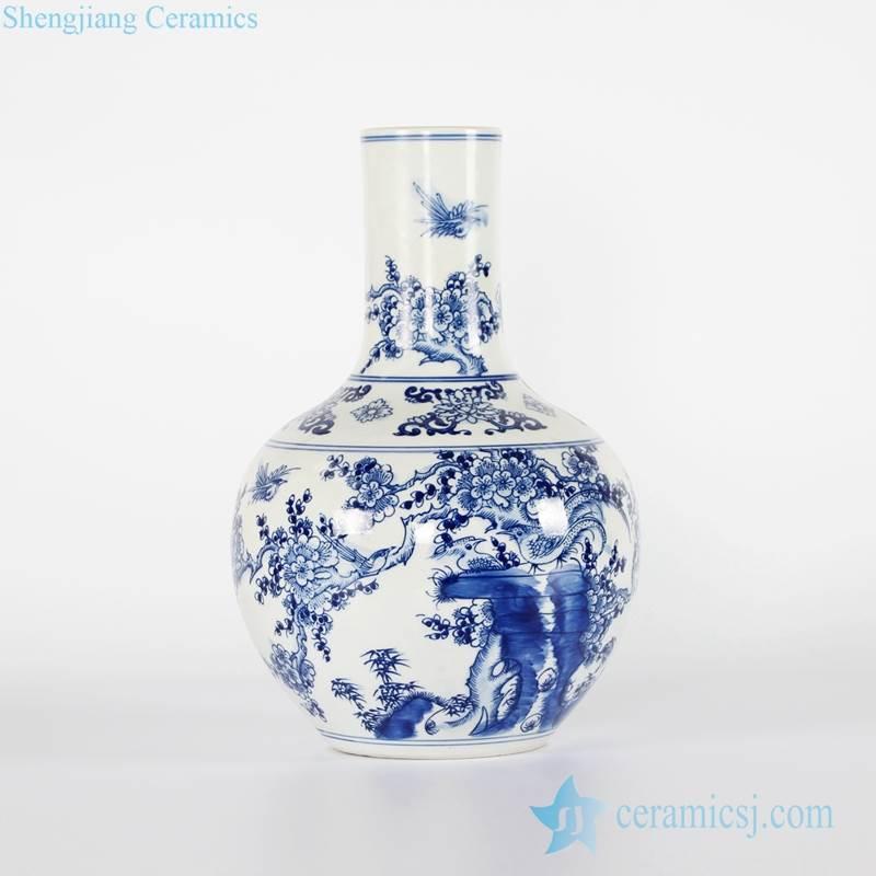 Chinoiserie hand drawing bird floral chinaware globular shape vase