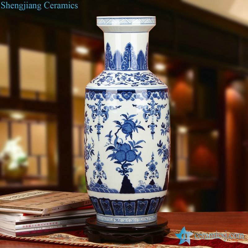 blue and white hand painted peach pattern elephant feet style chinaware flower vase