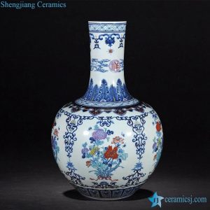 RZLG29 Colored floral pattern cobalt blue Jingdezhen China hand drawing porcelain vase for home decor