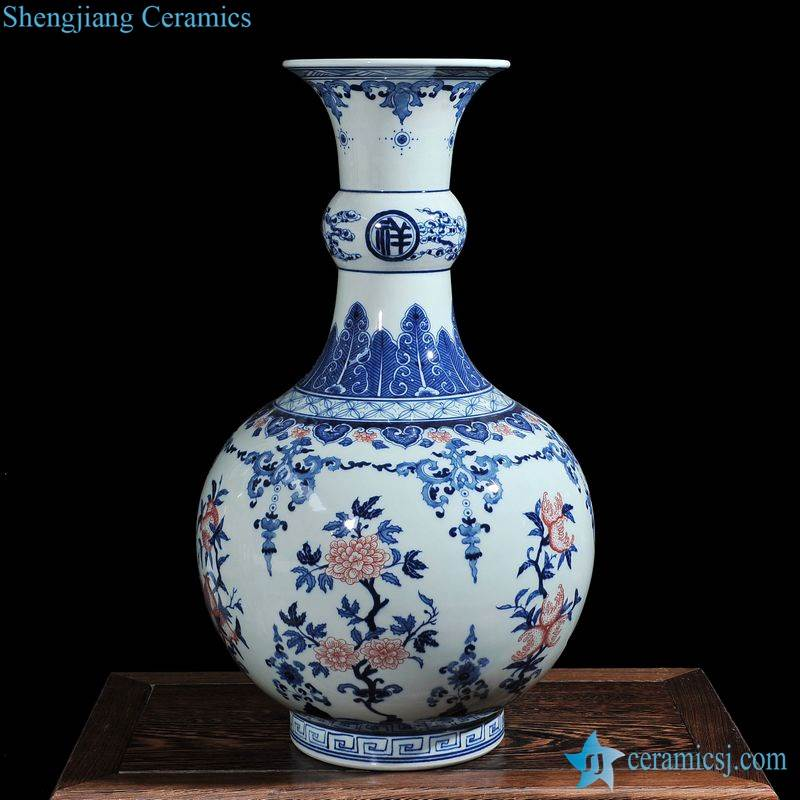 Copper red flower pattern blue and white design porcelain art vase