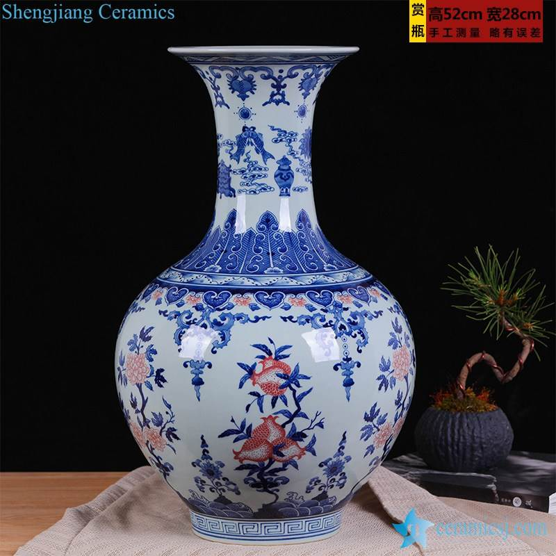 Copper red pomegranate blue and white background home decor porcelain vase