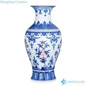 RZLG33 Jingdezhen famous red peach pattern blue and white ceramic art vase