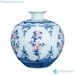 RZLG34 Round rich belly under glaze red peach with blue and white pattern ceramic artistic vase