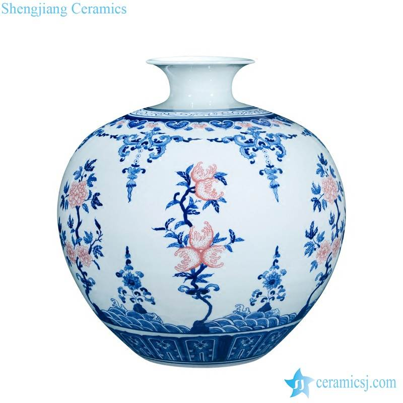 Round rich belly under glaze red peach with blue and white pattern ceramic artistic vase
