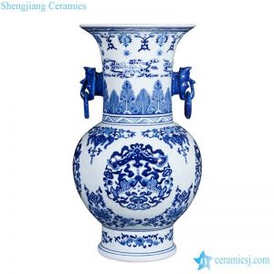 RZLG35 Asian design phoenix tail top blue and white double fishes pattern ring handle ceramic luxury vase