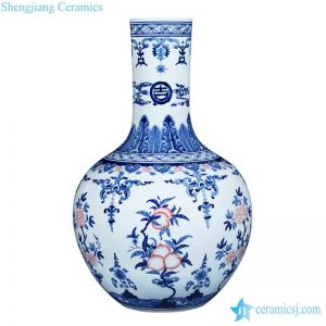 RZLG36 Globular shape blue and white design with copper red peach pattern porcelain home decor vase