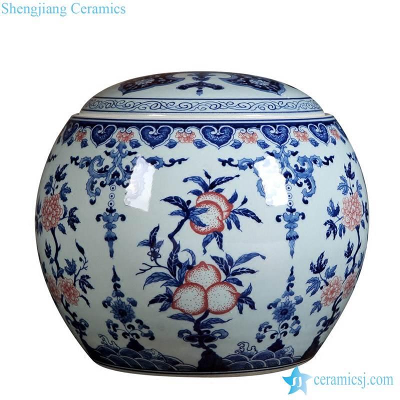 Jiangxi Jingdezhen art painting peach design ceramic jar