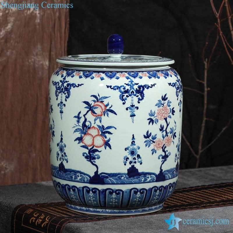 Large capability hand draft blue and white peach style storage ceramic jar