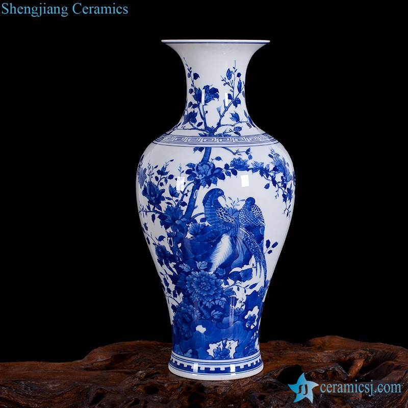China hand paint pheasant pattern home decor  ceramic vase