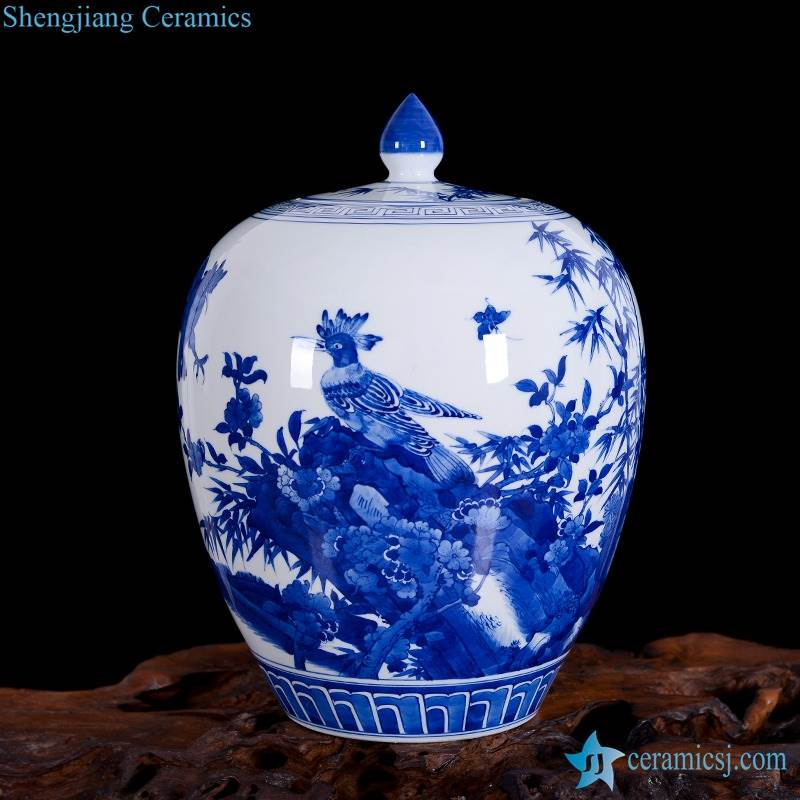 Wild pheasant pattern Jingdezhen hand craft blue and white ceramic candle jar