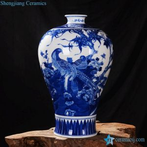 RZLH03 Ancient China style elegant blue and white couple pheasant pattern Meiping porcelain floral vase