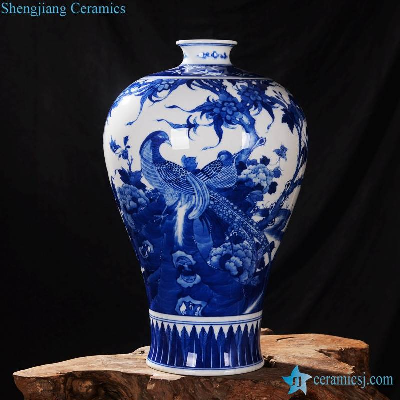 Ancient China style elegant blue and white couple pheasant pattern Meiping porcelain floral vase
