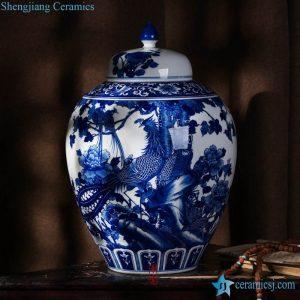 RZLH05 Phoenix pattern hand drawing Jingdezhen style round porcelain jar