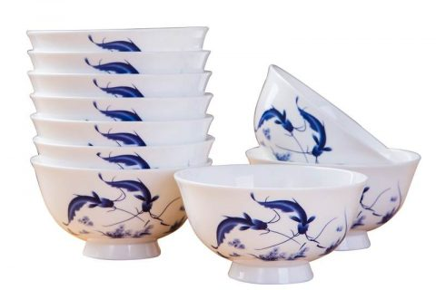 RZKX16-4.5cun-A Wholesale the fish pattern blue and white ceramic bowls set of 10