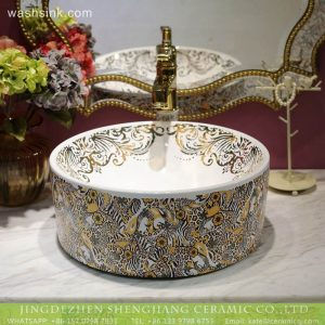 LT-2018-BL3I1388 Bathroom table top colored printed hand wash Caremic sink
