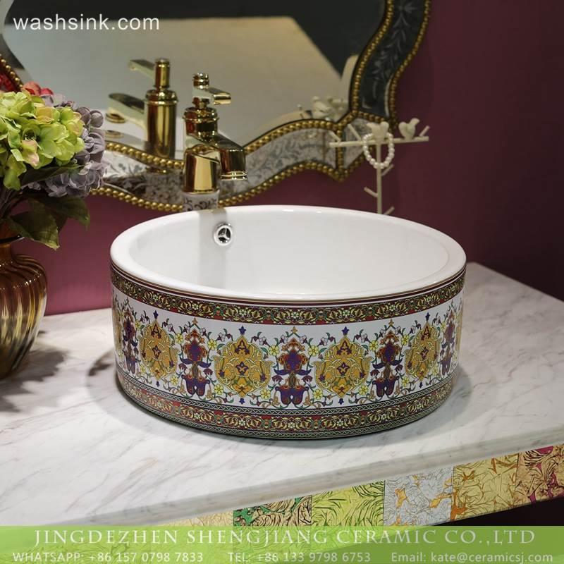 Beautiful LT 2018 BL3I1411 Colorful Art Caremic Bathroom Decorative Sinks Wash Basin
