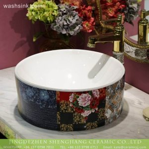 LT-2018-BL3I1419 New design flowers pattern bathroom hand sink ceramic wash basin