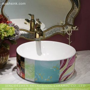LT-2018-BL3I1429 Modern colorful pattern bathroom hand sink ceramic wash basin