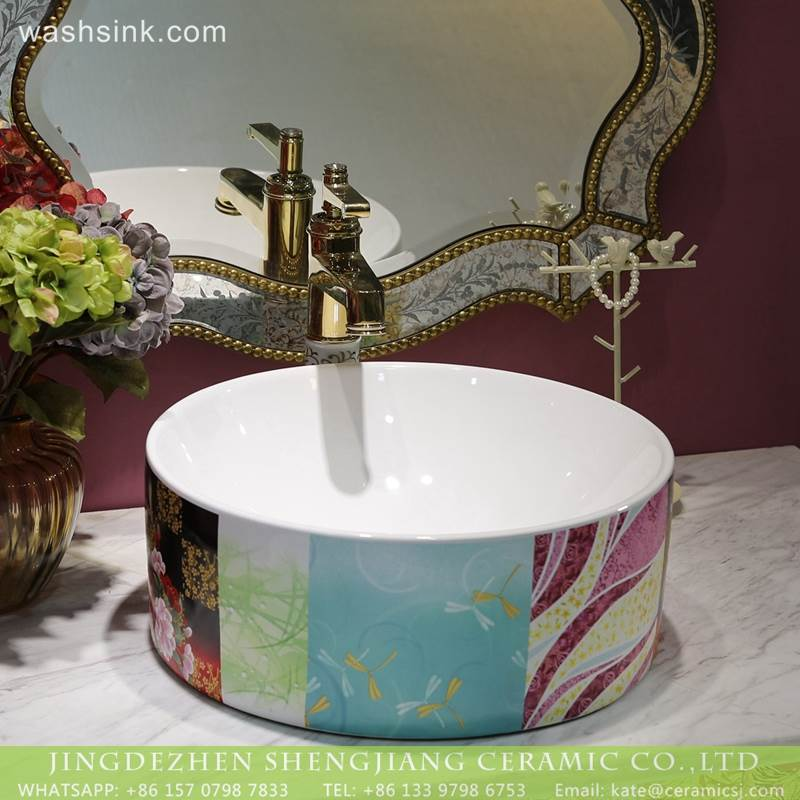 LT-2018-BL3I1429 Modern colorful pattern bathroom hand sink ceramic wash basin