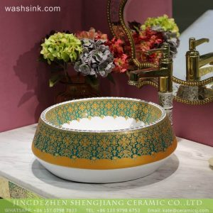 LT-2018-BL3I1456 Beautiful Oriental Round Ceramic Countertop Bathroom Wash Basin For Hotel