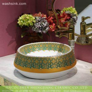 LT-2018-BL3I1456 Beautiful Oriental Round Ceramic Countertop Bathroom Wash Basin For Hotel