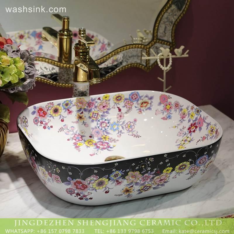 LT 2018 BL3I1491 Colorful Floral Pattern Rectangle Art Caremic Bathroom Decorative  Sinks Wash Basin