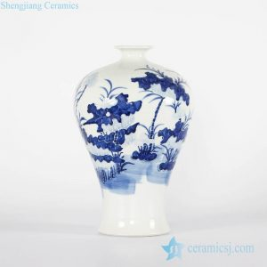 RYCI42-A Jingdezhen wholesale price blue and white relief lotus pattern porcelain Meiping vase