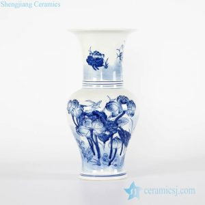 RYCI43-A Phoenix tail blue and white lotus pond pattern Jingdezhen porcelain vase