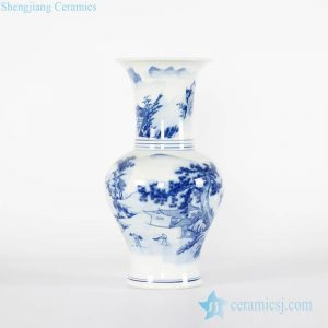 RYCI43-B Chinoiserie under glaze blue rural monk life pattern hand made ceramic vase for home decoration