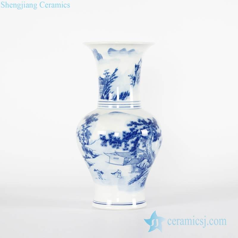 Chinoiserie under glaze blue rural monk life pattern hand made ceramic vase for home decoration