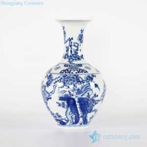 RYCI44-A Chinoiserie blue and white bird floral pattern chinaware flower vase