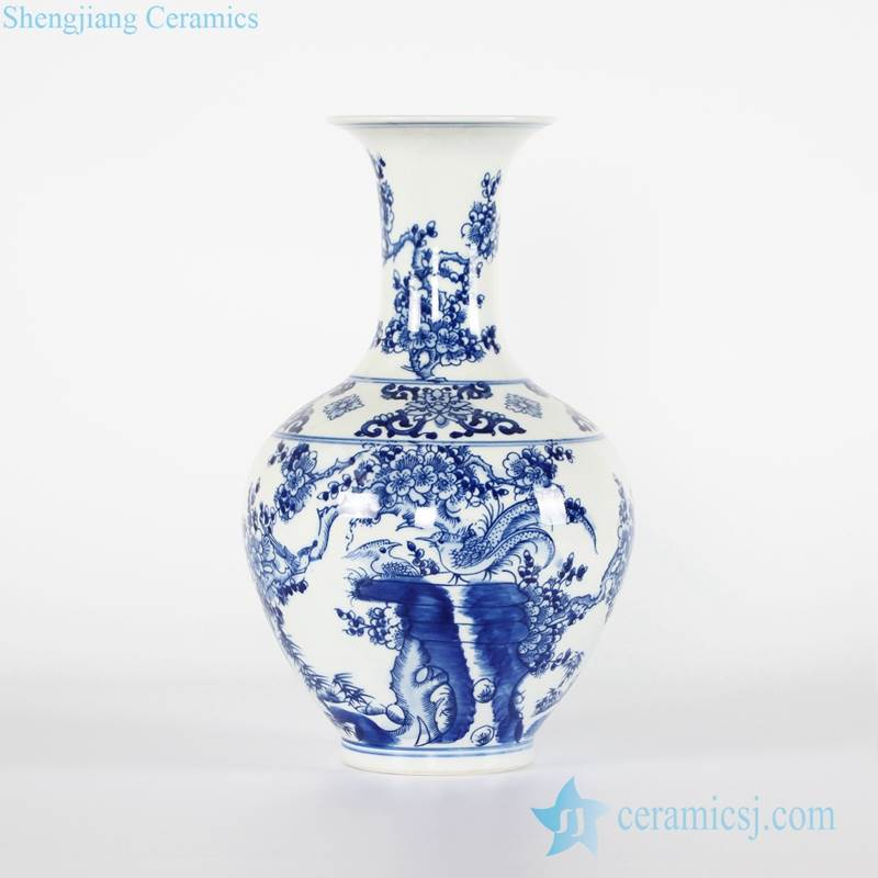 Chinoiserie blue and white bird floral pattern chinaware flower vase