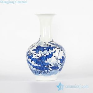 RYCI44-B Blue and white lotus pond pattern relief Jingdezhen Shengjiang ceramic hot sell globular vase