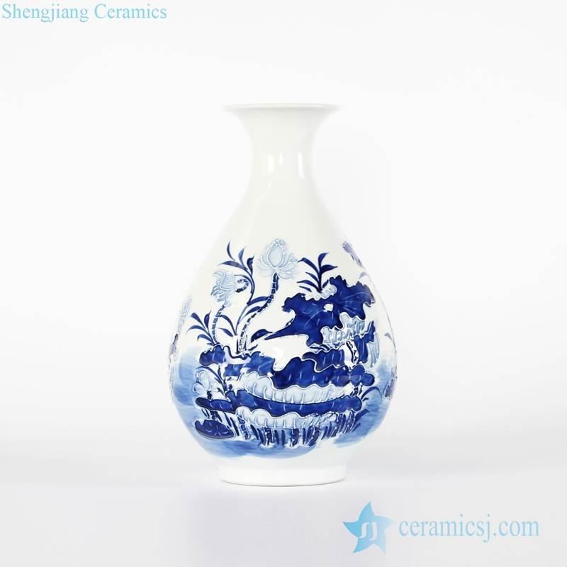 Asian hand carved style lotus pattern spring bottle shape ceramic vase