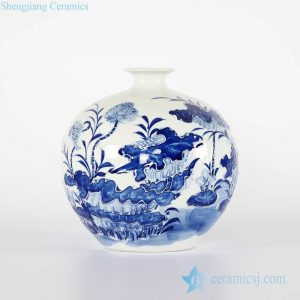 RYCI46-A Round ball shape relief lotus pattern cobalt blue porcelain vase for furniture