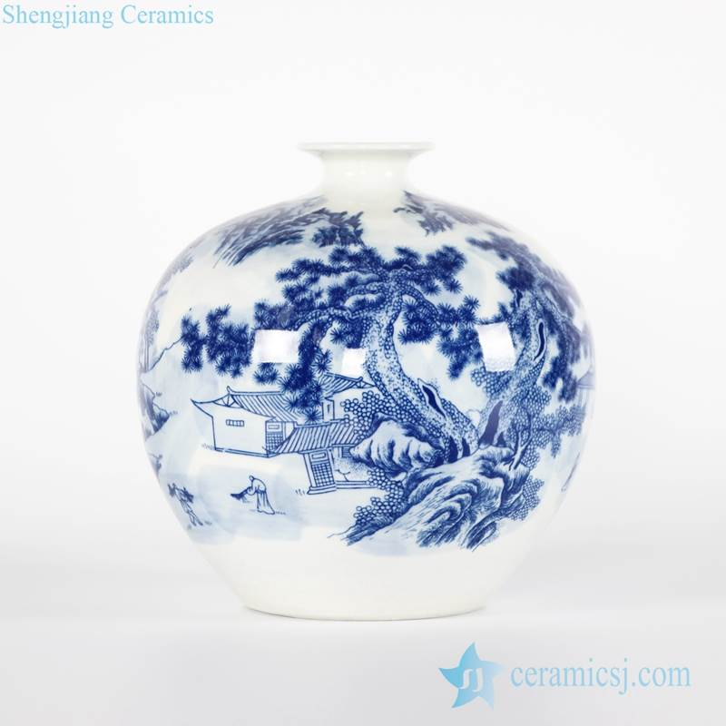 Far away mountain tranquil monk life pattern Chinese calligraphy style round flower ceramic vase