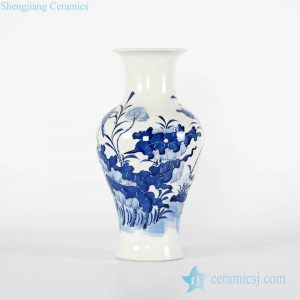 RYCI48-A Lotus relief pattern wholesale cobalt blue chinaware vase for home decor