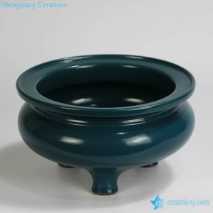 RYPM44 Jingdezhen ceramic Plain color Blue Tripod incense burner