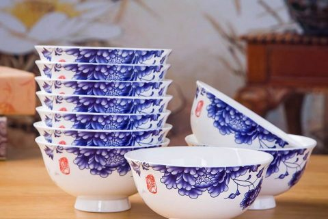 RZKX16-4.5cun-C Set of 10 Wholesale the flower pattern blue and white ceramic bowls
